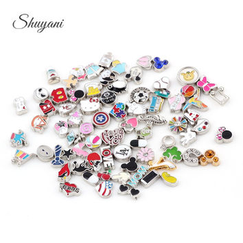100pcs/lot Free Shipping Mix Design Assorted Charms Mix DIY Alloy Floating Charms For Glass Living Memory Floating Locket