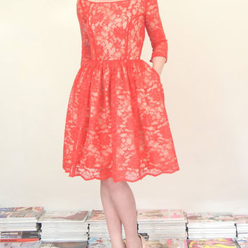 Red Lace Cocktail Dress  Scarlet and Nude  by alexandrakingdesign