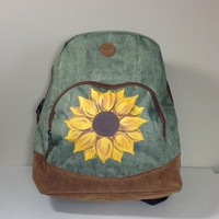 Roxy Green  Backpack with Hand Painted Sunflower