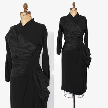 Vintage 40s Bombshell Black DRESS / 1940s Femme Fatale Rayon Draped Hip Swag Dress M