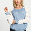 Blue Floral Crochet Sleeves Knit Pullover