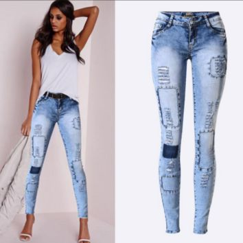 Sexy Blue Denim Cloth Patch Distress Skinny Stretch Jeans