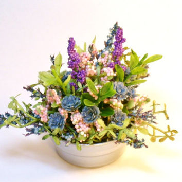 Blue and Pink Miniature Plants in Wash Tub Fairy Garden Dollhouse Flowers