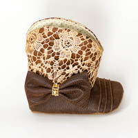 Gold Lace & Faux Leather Cowgirl Boots for Babies and Toddlers