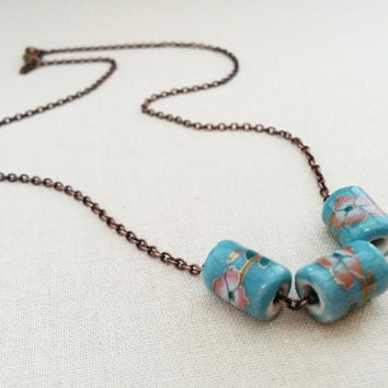 Light Blue Necklace; Ceramic Bead Necklace; Pink Flowers; Copper Chain; Pastel Blue Jewelry; Cable Chain; Floral Design; Spring Jewelry
