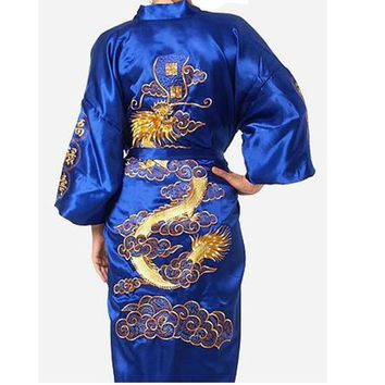 Hot Sale Blue Chinese Men's Silk Satin Bathrobe Embroider Kimono Gown Vintage Dragon Pattern Sleepwear S M L XL XXL XXXL ZR03