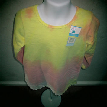 Girls comfortable French Terry hand dyed Long sleeve shirt, cotton, Size 6, ruffle edges at sleeves and hem.