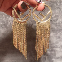 Fendi high quality new fashion letter tassel hoop long earrings Golden
