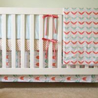 Arrow Crib Bedding Set - 4 Piece Set - Crib Bumper, Fitted Crib Sheet, Crib Skirt, Crib Blanket - Gold, Coral, Mint Bedding Set