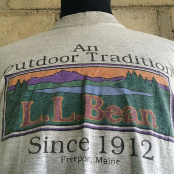 Rare Vintage LL Bean Freeport Maine An Outdoor Tradition Usa Made Shirt