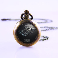 Game of Thones Pocket Watch Necklace , Winter Coming , Antique Pocket Watch , Mother Watch , 30mm Dome Glass Watch
