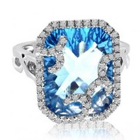 Cushion Blue Topaz & Diamonds Fashion Ring 14k White Gold 11.92ct