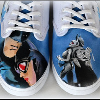 Painted Vans, Painted Shoes, Womens Shoes, Painted Batman & Catwoman, Custom Vans/Generic/Converse, Women Custom Shoes, Unique Wedding Shoes