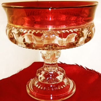 Sale Vintage Cranberry Glass Kings Crown Thumbprint Compote, Candy Dish, Indiana Glass Company, Tiffin Franciscan , Kings Crown, Ruby Flash