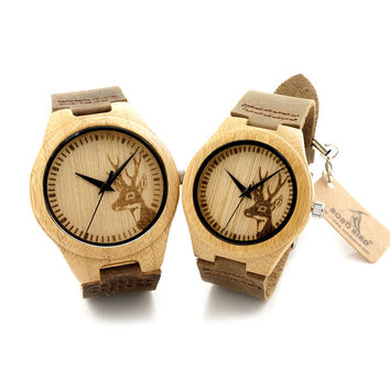 Top brand Bobobird Brand Lovers Wooden Bamboo Watch Deer Head engrave Quartz Real Leather Strap Mens Watches With Gift Box