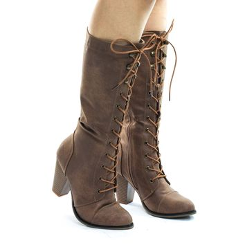 Camila36 Women's Fashion Military Combat Boots w Chunky Block Heel, Faux Wood