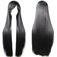 32'' Women's Cosplay Wig Hair Wig Long Straight Costume Party Full Wigs Black