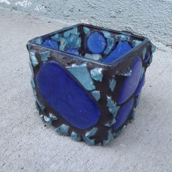 Mosaic Blue Candle Container/ Candle Vase/ Candle Holder/ Glass Candle Jar