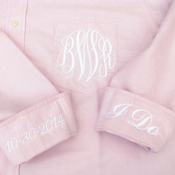 Pink Bridal Party Shirt - Monogrammed Button Down Wedding Day Shirt
