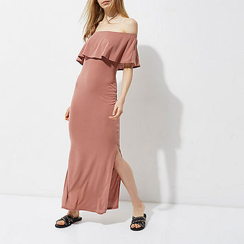 Rust frill bardot split skirt maxi dress - Dresses - Sale - women