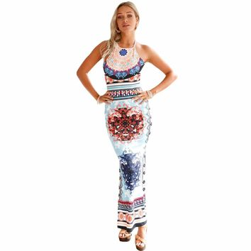 Light Blue African Pattern Low Back Halter Maxi Dress