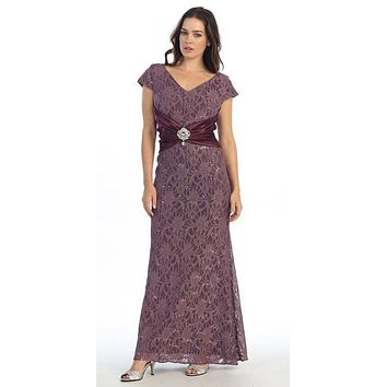 Short Sleeved V Neckline Long Victorian Lilac Lace Column Gown