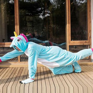 Wedtrend Flannel Unicorn Pijamas Cartoon Nightgown Adult Unisex Homewear Onesuits For Adults Animal Pajamas Men Pajama Unicornios
