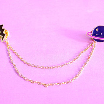 A Set of Galaxy Saturn And Lightning Strike Harajuku Fashion Collar Badges Pins Lapel Metal Enamel