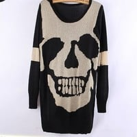 Skull Hollow Bat Sleeve Sweater black