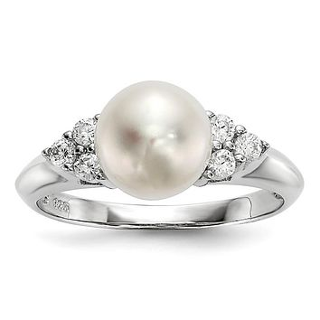 Sterling Silver 8-9mm White Button Freshwater Cultured Pearl CZ Accented Ring