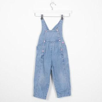 Vintage Toddler Overalls 1980s Blue Denim Dungarees Toddler Girl Overalls Izod Lacoste