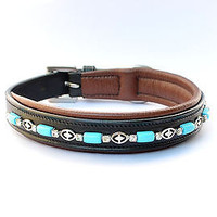 Turquoise Beads padded Leather Dog Collars in USA Leather