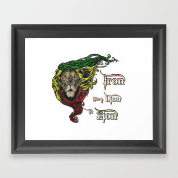 Reggae, Rasta, Rastafari Lion, Iron, like a Lion in Zion. Jamaican music, well known song quote Framed Art Print by Peter Reiss