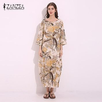 M-5XL ZANZEA Vintage Women O Neck 3/4 Sleeve Floral Print Party Cotton Linen Maxi Long Dress Casual Baggy Kaftan Tunic Plus Size