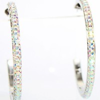 "2.2"" Hoop Earrings with Beautiful Sparkly High Quality Crystals - AB"