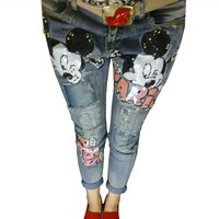 Boyfriend Jeans For Women 2016 Holes Denim Ripped Jeans Vintage Sequined Style Skinny Stretch Jeans Ladies Distressed Jeans B116