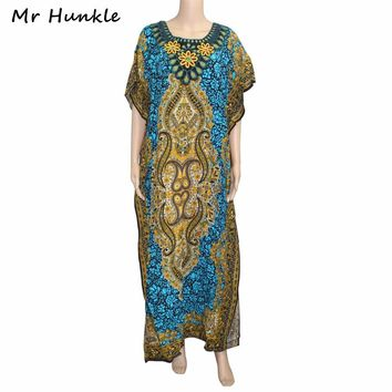 Mr Hunkle Vintage African Women Clothing Diamonds Emboridery Neck Summer Maxi Vestidos Traditional African Print Dashiki Dresses