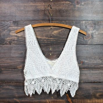 Pointelle Festival Crochet Crop Top In Natural
