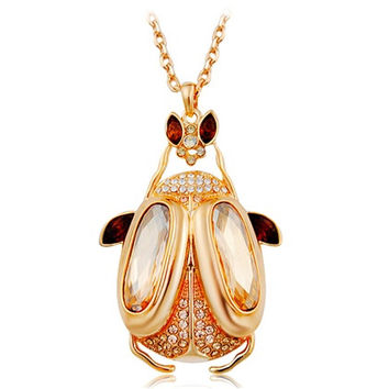 NEOGLORY Crystal Decorated Scarab Beetle Pendant Alloy Necklace
