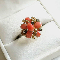 Vintage Coral & Rhinestone Layered Ring Size 9