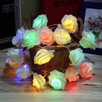 DKF4S 4 Colors Fashion Holiday Lighting 20 LED Rose Flower String Lights Fairy Wedding Party Christmas Decoration