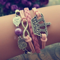 Pretty girl Pink leather bracelet Infinity Crown-Owls Bracelet harry potter pearl Bride/Bridesmaid bracelet beautiful girl jewlery WB016