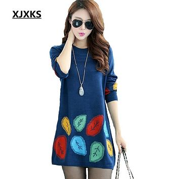 XJXKS New 2017 autumn and winter dress one-piece plus size loose knitted sweater dresses big size elegant casual dress