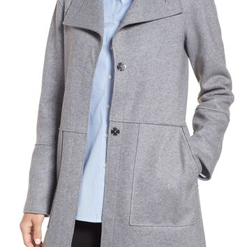 Kenneth Cole New York Envelope Collar Wool Blend Knit Coat (Regular & Petite) | Nordstrom