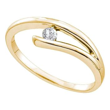 14kt Yellow Gold Women's Round Diamond Solitaire Promise Bridal Ring 1/12 Cttw - FREE Shipping (US/CAN)