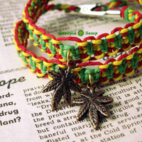 Best Buds Rasta Hemp Roach Clip Friendship Bracelets - Cannabis Hemp Roach Clip Jewelry - 420 Stoner Marijuana Leaf Hemp Bracelets