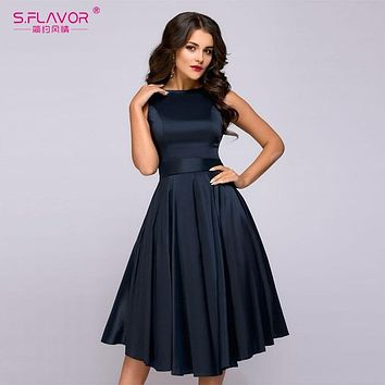 S.FLAVOR Vintage Style Women Midi Dress Fashion Sleeveless Elegant A-line Vestidos With Belt Solid Women Casual Summer Dresses