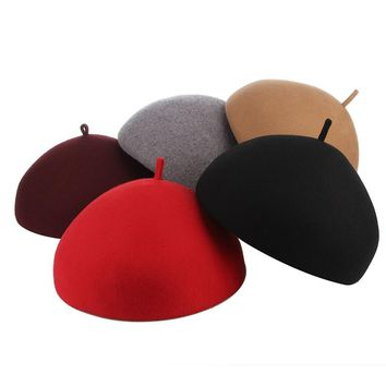 Elegant Lady Solid Color Wool Felt Beret Hats For Women Autumn Winter Hat Warm Artist Flat Cap Boina Female Berets