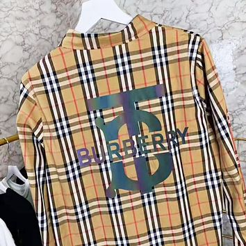 Burberry Fashion New Plaid Reflective Multicolor Letter Women Men Long Sleeve Shirt
