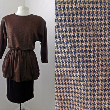 Vintage 80s Houndstooth Dress // Skirted Bouffant // Black and Brown // Shoulder Pads // Small Medium